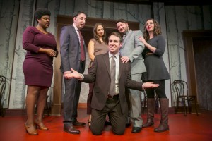 11/24/15 8:10:03 PM -- Second City Main Company 104th Production: Fool Me Twice, Deja vu Jamison Webb surrounded by Rashawn Nadine Scott Daniel Strauss Sarah Shook Paul Jurewicz and Chelsea Devantez © Todd Rosenberg Photography 2015
